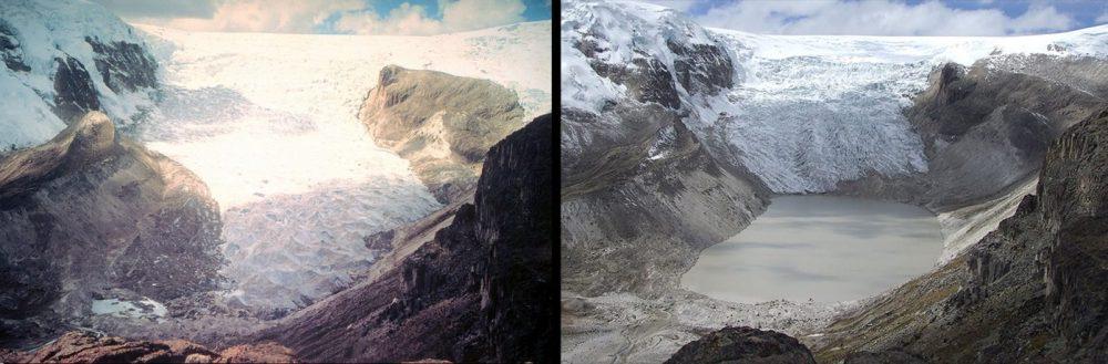 Derretimiento del glaciar Qori Kalis, Perú (Julio 1978 – julio 2011): En 1978, el glaciar seguía avanzando. En 2011, el glaciar se había retirado por completo de nuevo en la tierra, dejando un lago de 86 hectáreas de superficie y unos 60 metros de profundidad.