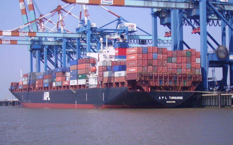 """El buque portacontenedores """"APL Turquoise"""" en Bremerhaven, Alemania [Wikipedia]"""