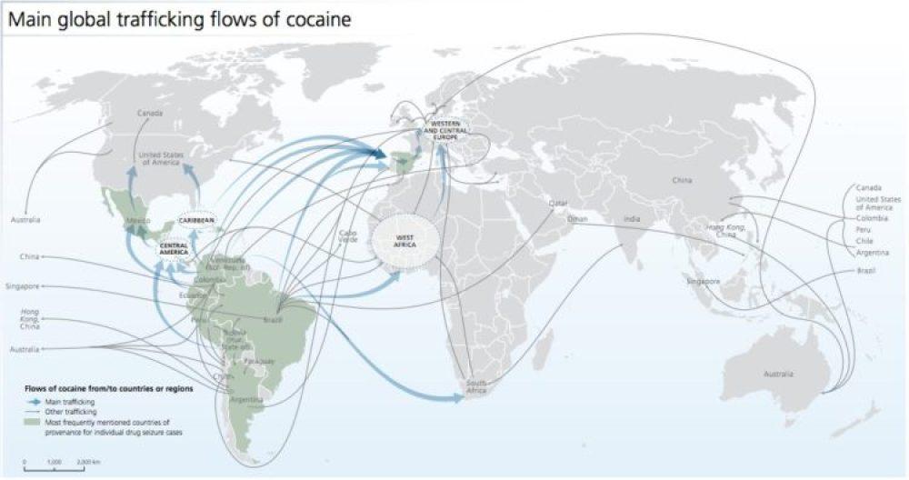 Principales flujos globales del tráfico de opiáceos. Fuente: World Drug Report.
