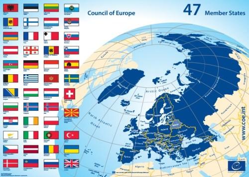 Mapa con los 47 estados miembros del Consejo de Europa.
