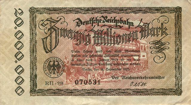 Papiermark (marco de papel), billete de curso legal en Alemania a partir del año 1914. Vía Wikipedia.