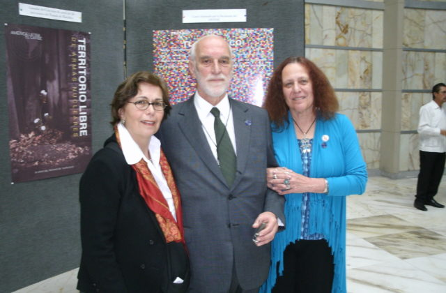 left to right: Jackie Cabasso, Western States Legal Foundation (WSLF) executive director and United for Peace and Justice co-convener, Ambassador Luiz Filipe de Macedo Soares, Secretary-General of OPANAL, Marcia Campos, WSLF Board member