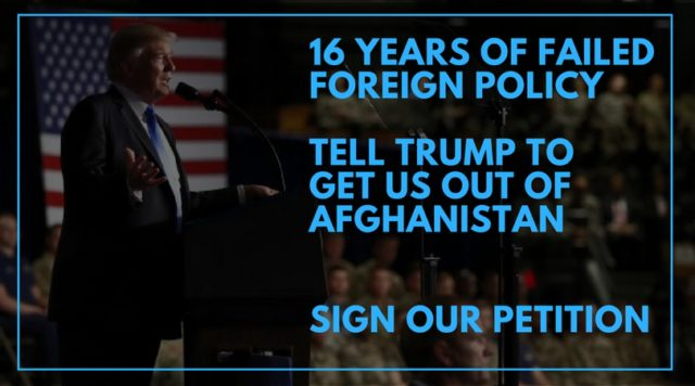 Donald Trump Afghanistan War Peace Petition