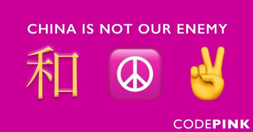 Image result for china is not our enemy code pink