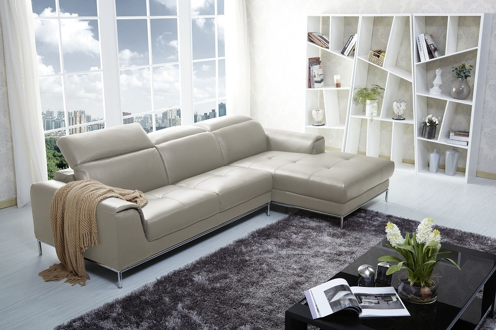 1727 modern beige leather sectional sofa