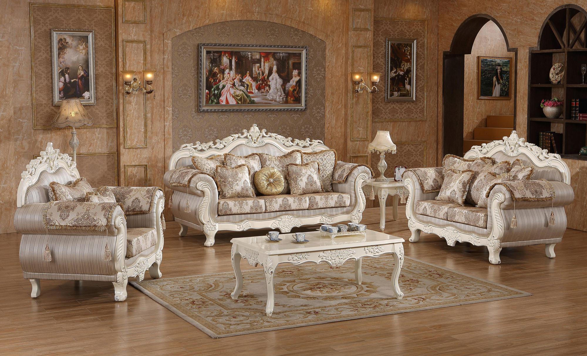 antique white wood trim fabric living