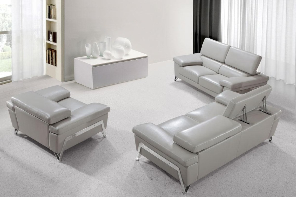 Divani Casa Encore Modern Sofa Set in Grey Leather