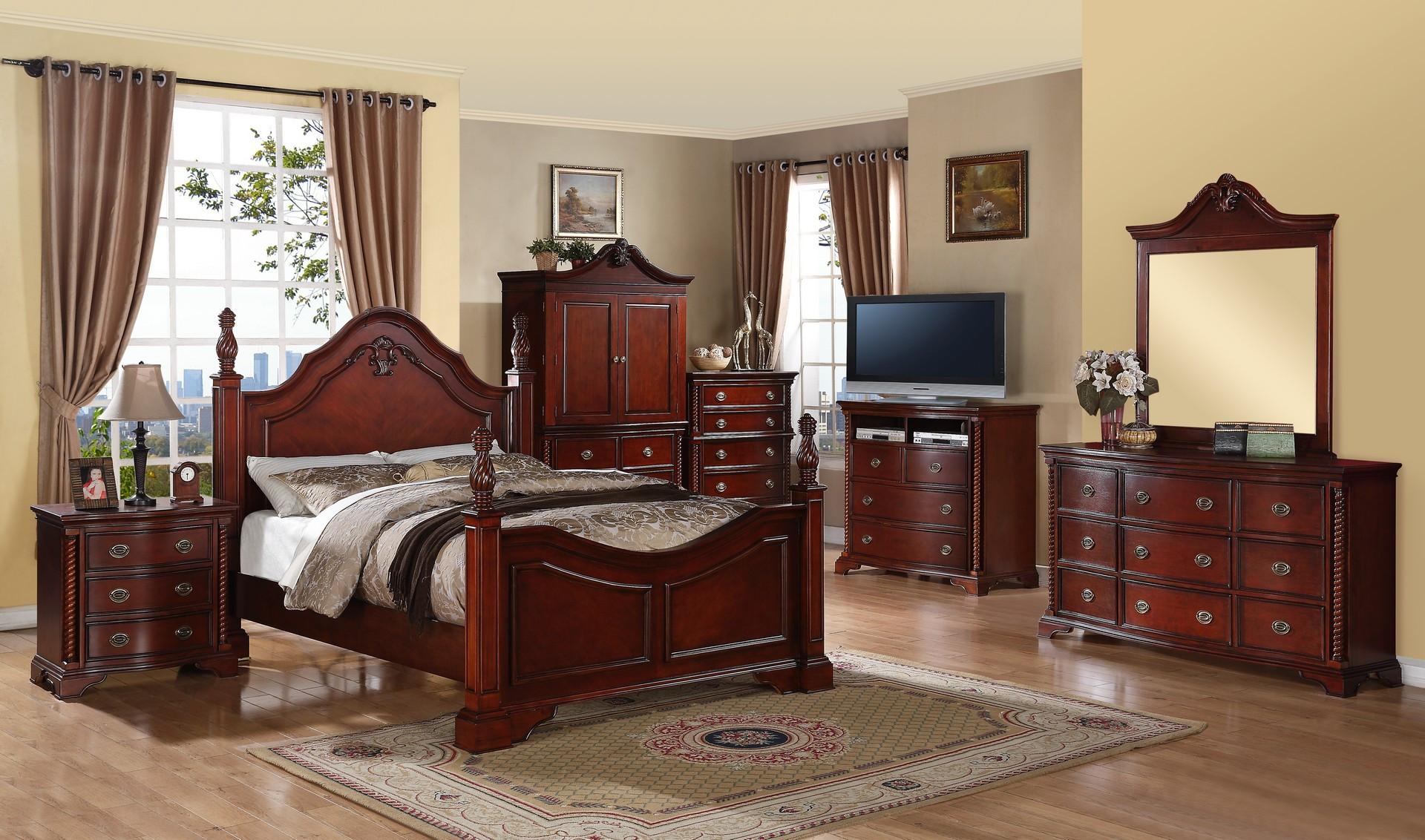solid wood poster cherry bedroom set