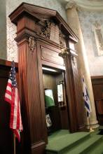 The Pardubice scroll at right in Temple Israel ark.