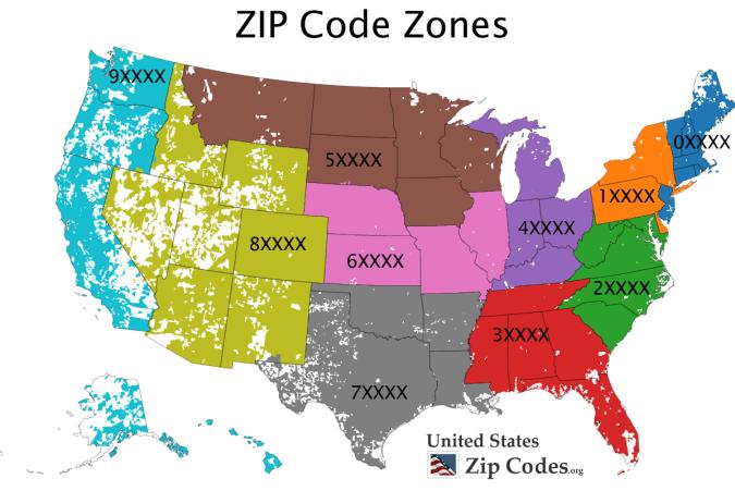 Free ZIP code map, zip code lookup, and zip code list