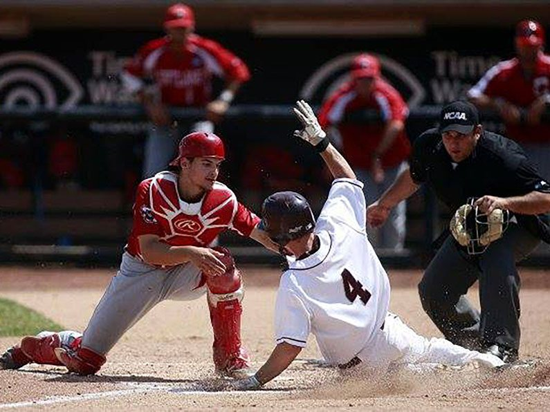 Alex Skandalis taking a play at the plate