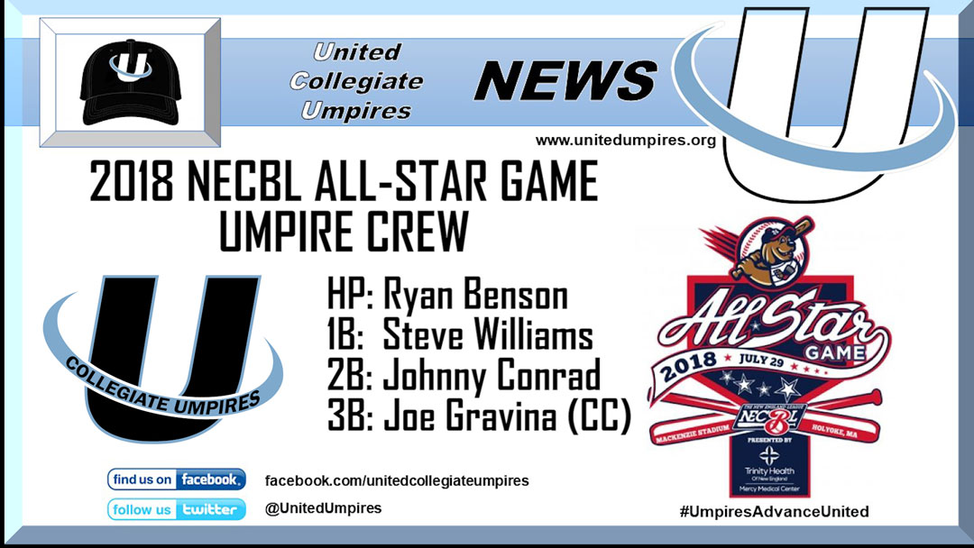 Umpires Announced for the 2018 NECBL All-Star Game