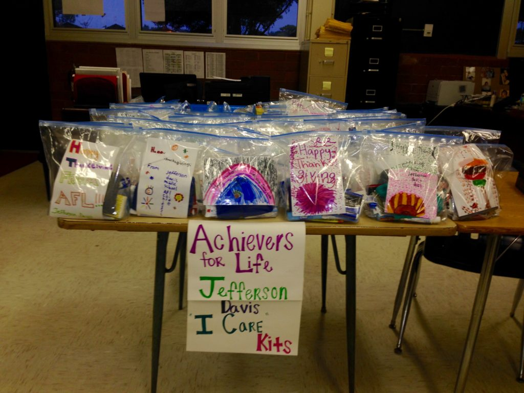 The completed I Care Kits prepared by Jefferson Davis AFL Students.