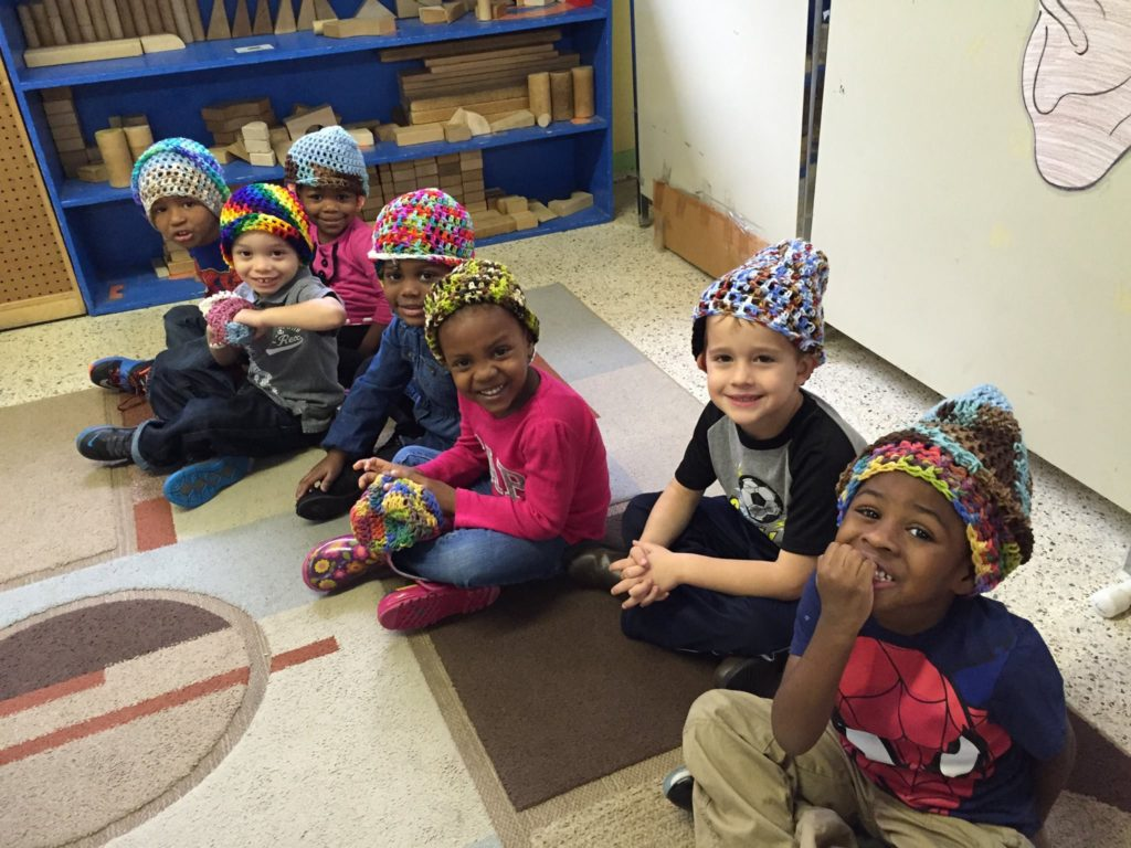 Students wearing their colorful caps at Methodist Children's Village.