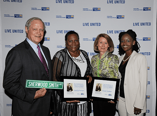 Susan Golden (third from left) is the winner of the 2014 United Way of Northeast Florida Sherwood Smith Award recipient for Advocacy. Others in the photo (from left) are Sherwood H. Smith Jr., Juanita Foreman (winner for service) and SuDelta Henson.