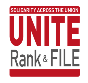 Site icon, reads Unite rank & file - solidarity across our union