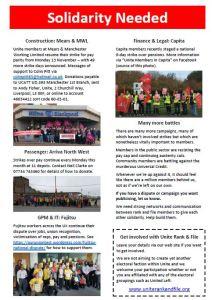 """Leaflet headed """"Solidarity Needed"""" highlighting various strikes"""
