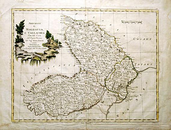 Principatele Moldova și Țara Românească în 1786, hartă italiană de G. Pittori, după geograful Giovanni Antonio Rizzi Zanoni - foto: ro.wikipedia.org