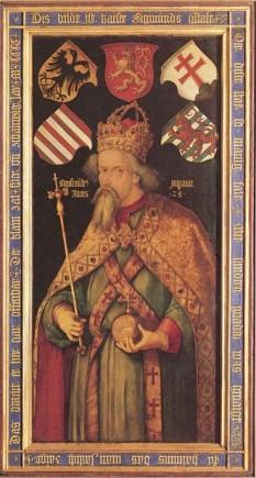 Sigismund de Luxemburg (în maghiară Luxemburgi Zsigmond, în cehă Zikmund Lucemburský) (n. 14 februarie 1368, Nürnberg - d. 9 decembrie 1437, Znaim, Moravia, azi Republica Cehă), principe elector de Brandenburg din 1378 până în 1388 și din 1411 până în 1415, rege al Ungariei și Croației din 1387, rege al Boemiei din 1419, rege al Germaniei din 1411 și împărat romano-german din 1433 până la moartea sa în 1437 - in imagine, Sigismund, la aproximativ 50 de ani, portret atribuit lui Pisanello - foto: ro.wikipedia.org