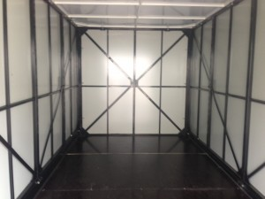 A look inside of a clean and portable moving container at a house in San Ramon