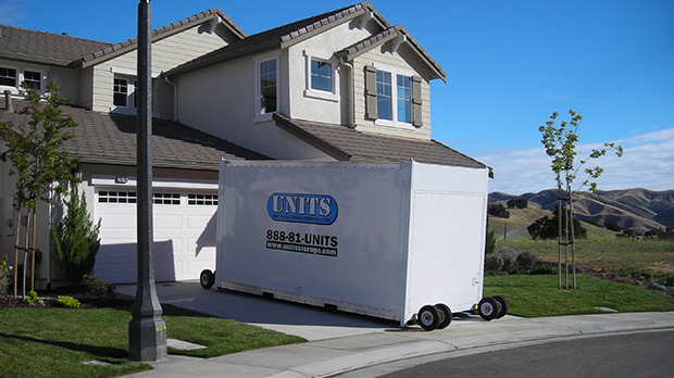UNITS moving container in front of Emeryville home using it for portable storage & Portable Storage in Emeryville | Emeryville movers | UNITS Moving