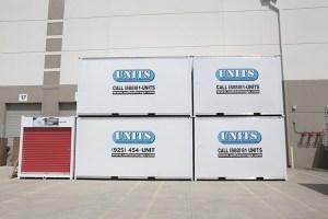 portable storage units at a warehouse