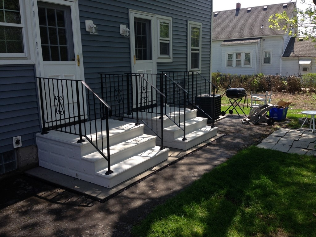 Unit Step Precast Concrete And Wrought Iron Railing | Steel Handrails For Concrete Steps