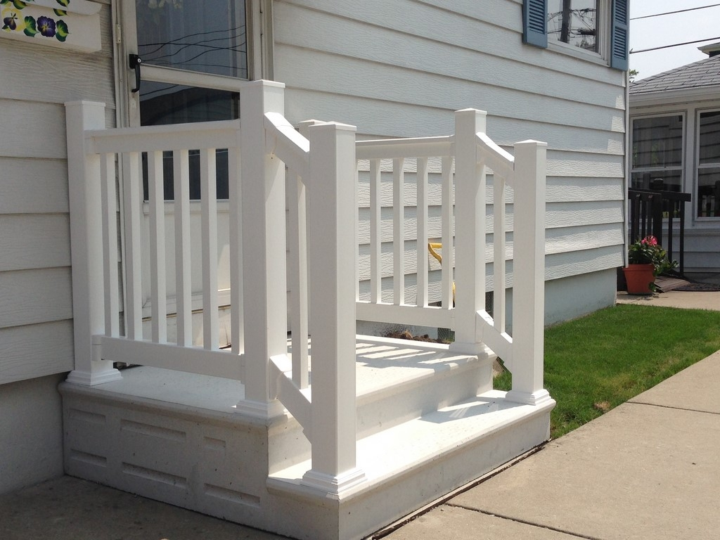Unit Step Precast Concrete And Wrought Iron Railing | Building A Handrail For Concrete Stairs | Deck Railing | Deck | Steel Handrail | Porch | Outdoor Stair