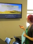 Ashley making a presentation in one of our PROS classrooms.