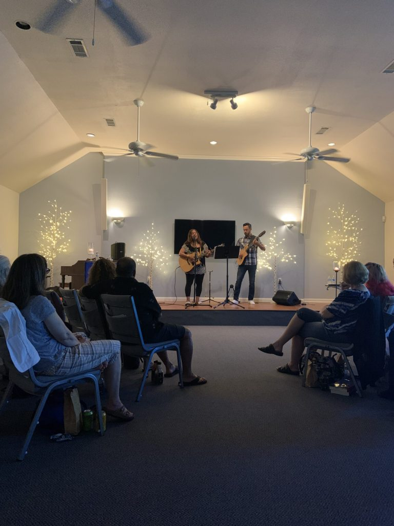 Robin Hackett and Aaron Flores performing, July 10, 2021