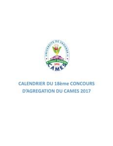 Calendrier du 18ème Concours d'Agrégation du CAMES 2017