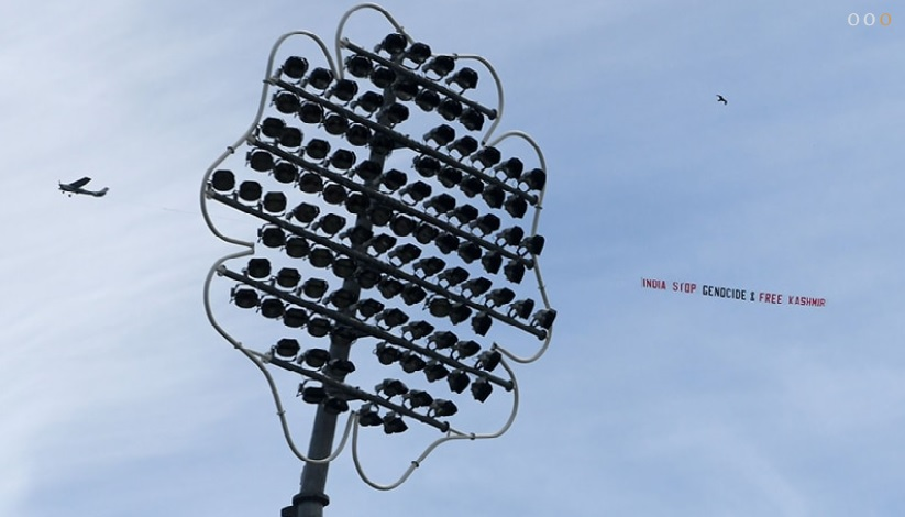 India Stop Genocide & Free Kashmir, Banner hovers over stadium