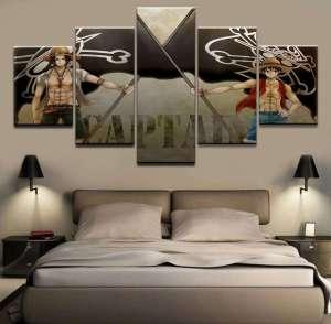 Décoration murale en 5 pièces One Piece Luffy X Ace Captain