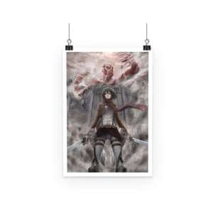 Poster Attack On Titans Mikasa Vs Colossal Titan