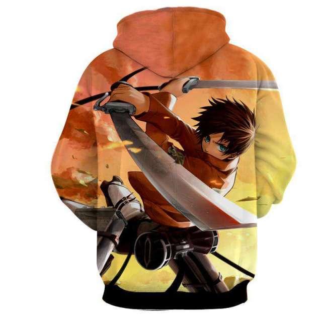 Pull à capuche 3D All Over Attack On Titans Eren Sword