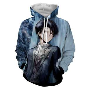 Pull à capuche 3D All Over Attack On Titans Levi Rivaille 2