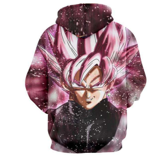 Pull à capuche 3D All Over Dragon Ball Super Black SSj Rosé