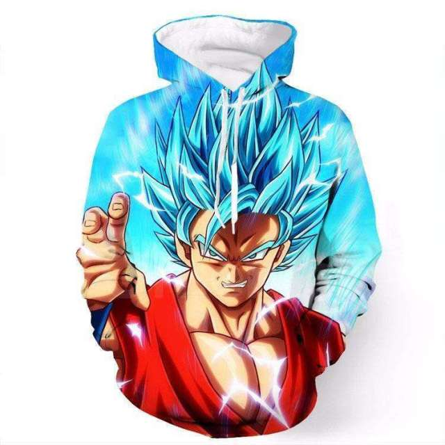 Pull à capuche 3D All Over Dragon Ball Super Goku Blue God