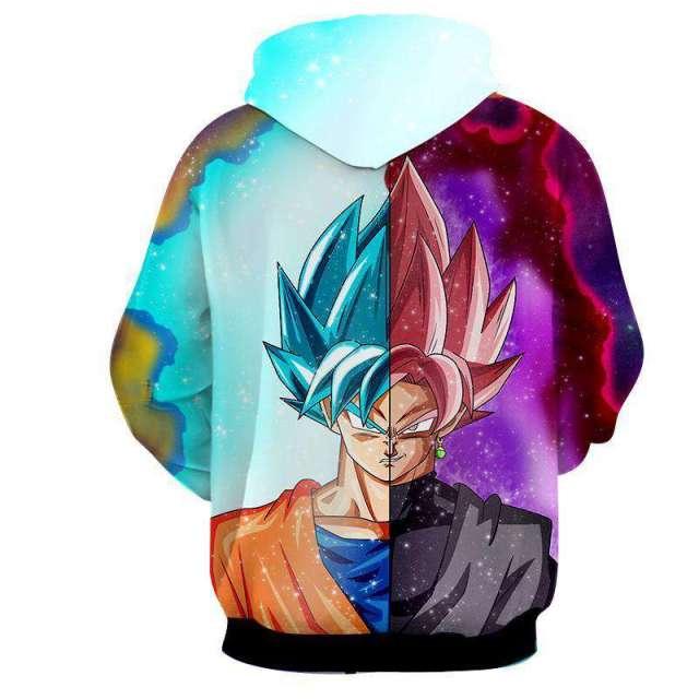 Pull à capuche 3D All Over Dragon Ball Super Goku VS Black
