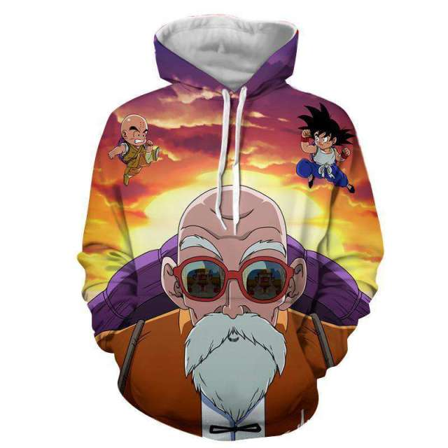 Pull à capuche 3D All Over Dragon Ball Z Kame Sennin