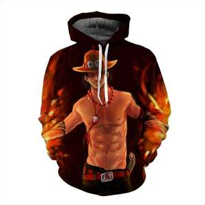 Pull à capuche 3D All Over One Piece Ace Fire