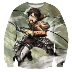 Pull classique 3D All Over Attack On Titans Eren