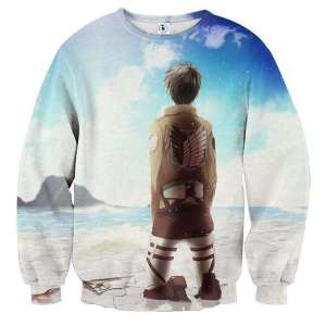 Pull classique 3D All Over Attack On Titans Eren Sky