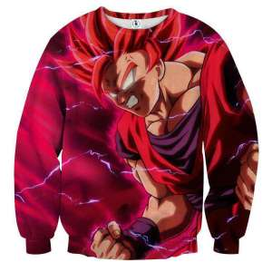 Pull classique 3D All Over Dragon Ball Super Goku God Red Form