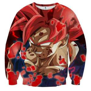 Pull classique 3D All Over Dragon Ball Super Goku Red God