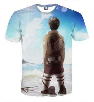 T Shirt 3D All Over Attack On Titan Eren Sky