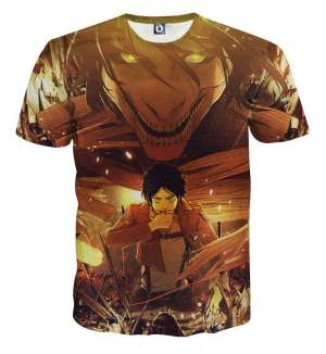 T Shirt 3D All Over Attack On Titan Eren Transformation