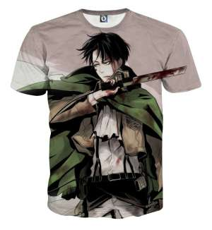 T Shirt 3D All Over Attack On Titan Rivaille Blood