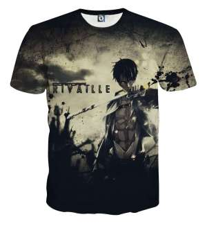 T Shirt 3D All Over Attack On Titan Rivaille Sword