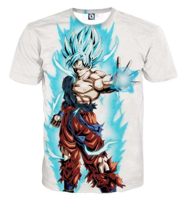 T Shirt 3D All Over Dragon Ball Super Goku SSJ Blue